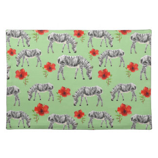Zebras Among Hibiscus Flowers Placemat