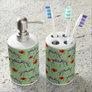 Zebras Among Hibiscus Flowers Soap Dispenser And Toothbrush Holder