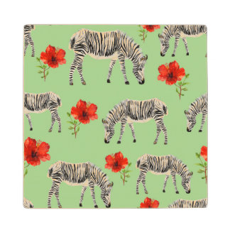 Zebras Among Hibiscus Flowers Wood Coaster