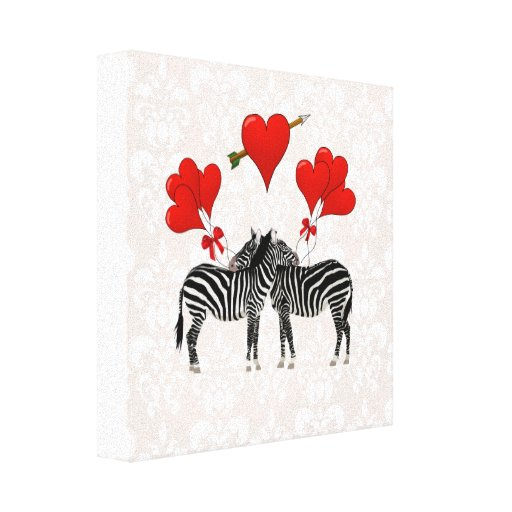 Zebras and hearts on pink damask canvas prints