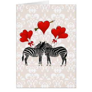 Zebras and hearts on pink damask greeting card