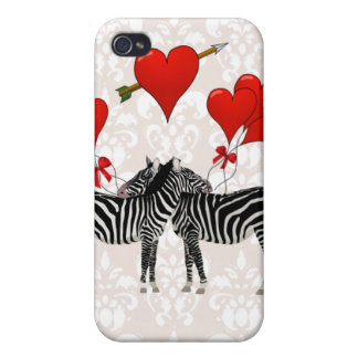 Zebras and hearts on pink damask iPhone 4/4S cover