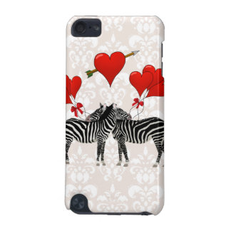 Zebras and hearts on pink damask iPod touch 5G cover