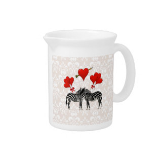 Zebras and hearts on pink damask pitcher