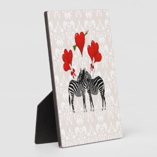 Zebras and hearts on pink damask plaque