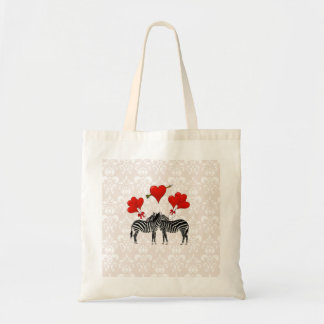 Zebras and hearts on pink damask tote bag