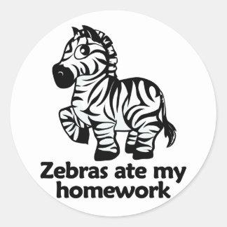 Zebras ate my homework round sticker