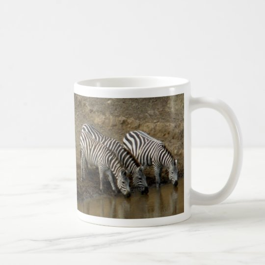 Zebras drinking at the Mara River - Mug