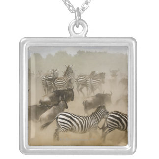 zebras (Equus burchelli) and wildebeest Silver Plated Necklace