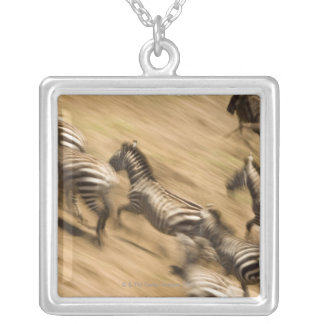 Zebras (Equus quagga) and wildebeest Silver Plated Necklace