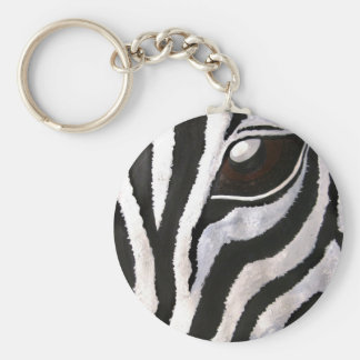 Zebra's Eye (Acrylic by Kimberly Turnbull Art) Basic Round Button Key Ring