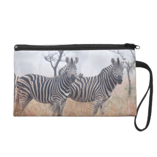 Zebras in early morning dust, Kruger National Wristlet Clutches