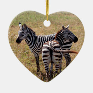 Zebras in Nairobi Kenya Ceramic Heart Decoration