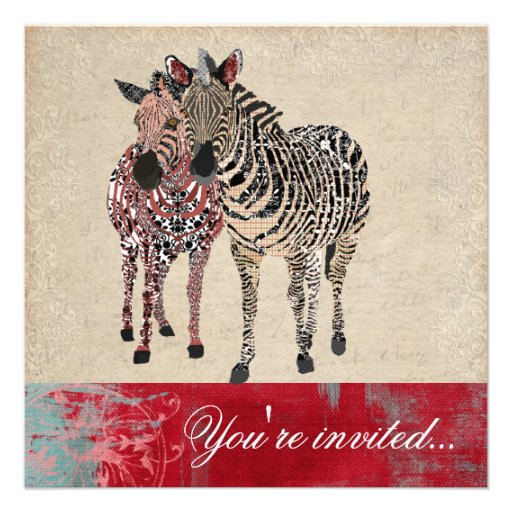 Zebras Ornate Ivory & Grunge Damask Invitation
