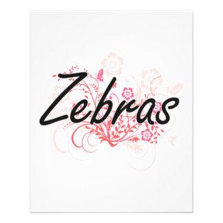 Zebras with flowers background 11.5 cm x 14 cm flyer