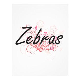 Zebras with flowers background 21.5 cm x 28 cm flyer