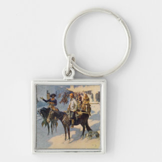 Zebulon Pike Entering Santa Fe Silver-Colored Square Key Ring