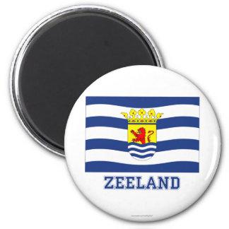 Zeeland Flag with name 6 Cm Round Magnet