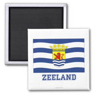 Zeeland Flag with name Square Magnet