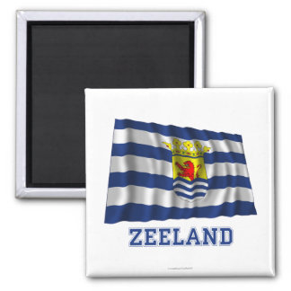 Zeeland Waving Flag with Name Square Magnet
