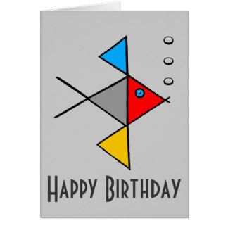 Zen Angel Fish Happy Birthday Card