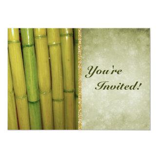 Zen Asian Green Bamboo Stalks 13 Cm X 18 Cm Invitation Card