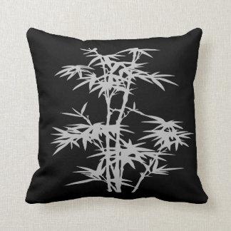 Zen bamboo Asian style on black Cushion