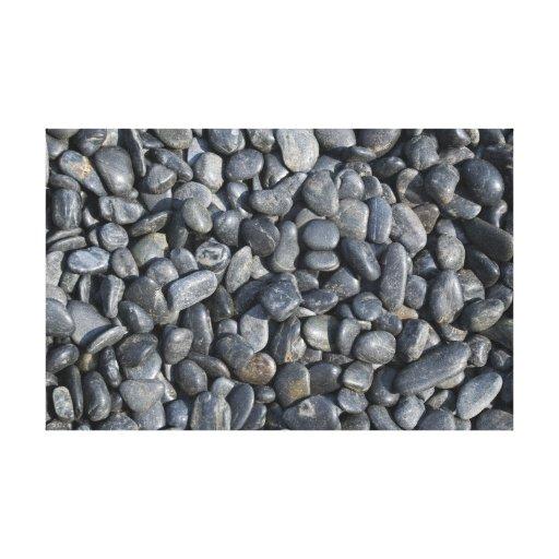 Zen Black Rocks Wrapped Canvas Print
