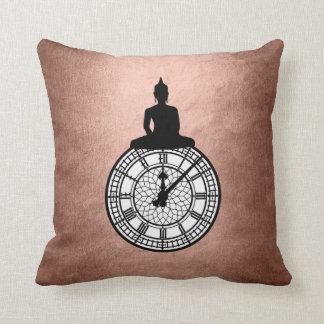 Zen Budda Londoner Big Ban Clock Pink Rose Gold Throw Pillow