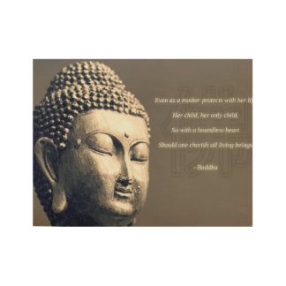 Zen Buddha Cherish Mother Quote Inspirational Wood Poster