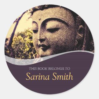 Zen Buddha Face Bookplate Sticker