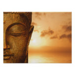 Zen Buddha in the sunset Poster
