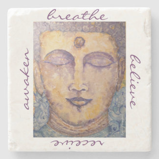 Zen Buddha Watercolor Art Stone Coaster