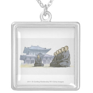 Zen Buddhist monks kneeling outside temple Silver Plated Necklace