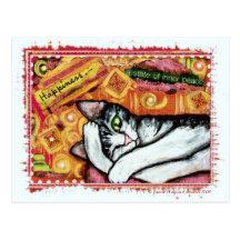 Zen Cat Art Postcard