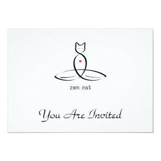 Zen Cat - Fancy style text. 13 Cm X 18 Cm Invitation Card
