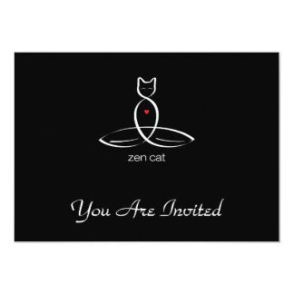 Zen Cat - Regular style text. 13 Cm X 18 Cm Invitation Card