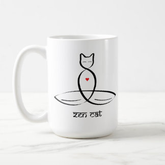 Zen Cat - Sanskrit style text. Basic White Mug