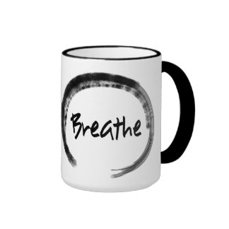 Zen Circle - Breathe - Inspirational Yoga Gifts Ringer Mug