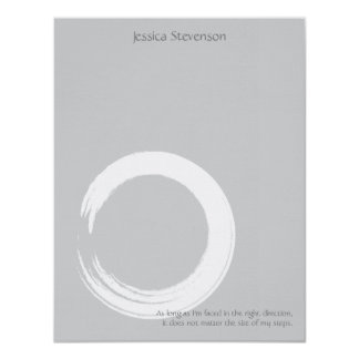 Zen Circle Flat Note Card (grey) 11 Cm X 14 Cm Invitation Card