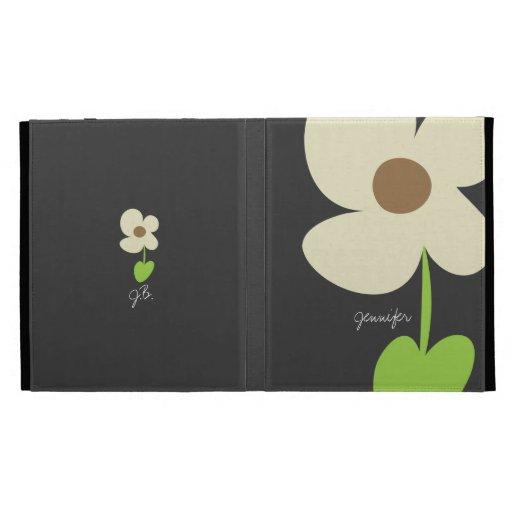 Zen Daisy Personalized iPad Caseable Folio - Gray iPad Folio Covers