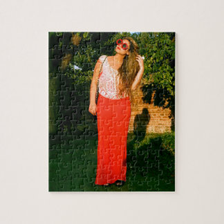 Zen Dal Monaco Girl Flower Glasses - Jigsaw Puzzle