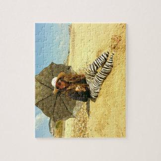 Zen Dal Monaco Girl Peacock Beach - Jigsaw Puzzle