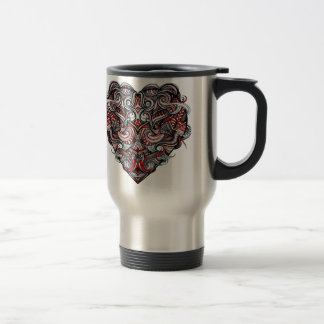 Zen Doodle Abstract Heart Shaped Red White Black Travel Mug