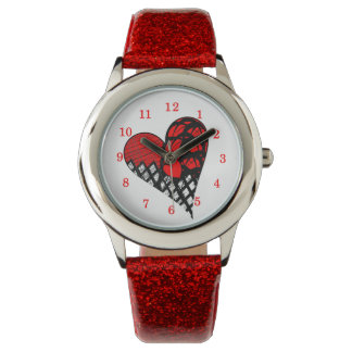 Zen Doodle Red and Black Funky Heart Picture Watch