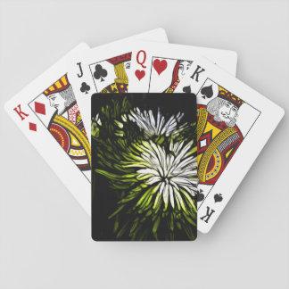 Zen floral Lime green white Chrysanthemum Playing Cards