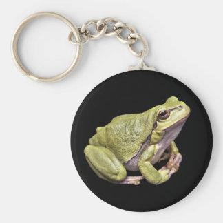 Zen Frog Cute Green Meditation Treefrog Black Basic Round Button Key Ring