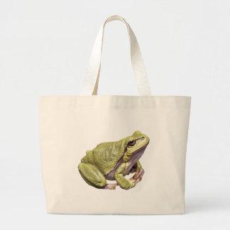 Zen Frog Pale Green Cute Treefrog Meditation Pose Jumbo Tote Bag