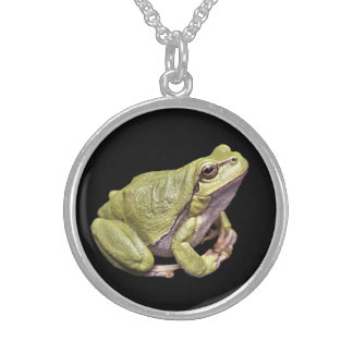 Zen Frog Sterling Silver Round Necklace Black