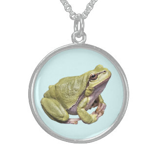 Zen Frog Sterling Silver Round Necklace Light Cyan